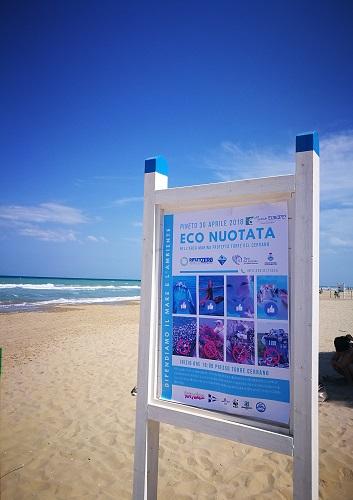 Cartellone esplicativo dell'eco-nuotata svoltasi a Pineto