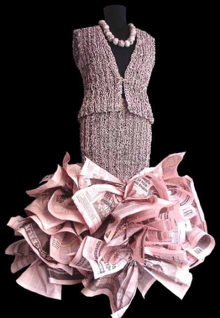 abito bonbon di carta riciclata