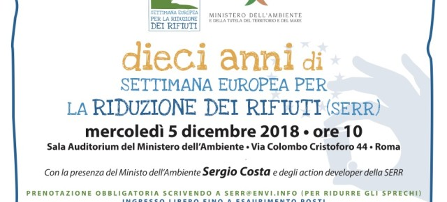 Un evento speciale al Ministero dell'Ambiente per i dieci anni di Settimana Europea per la Riduzione dei Rifiuti: