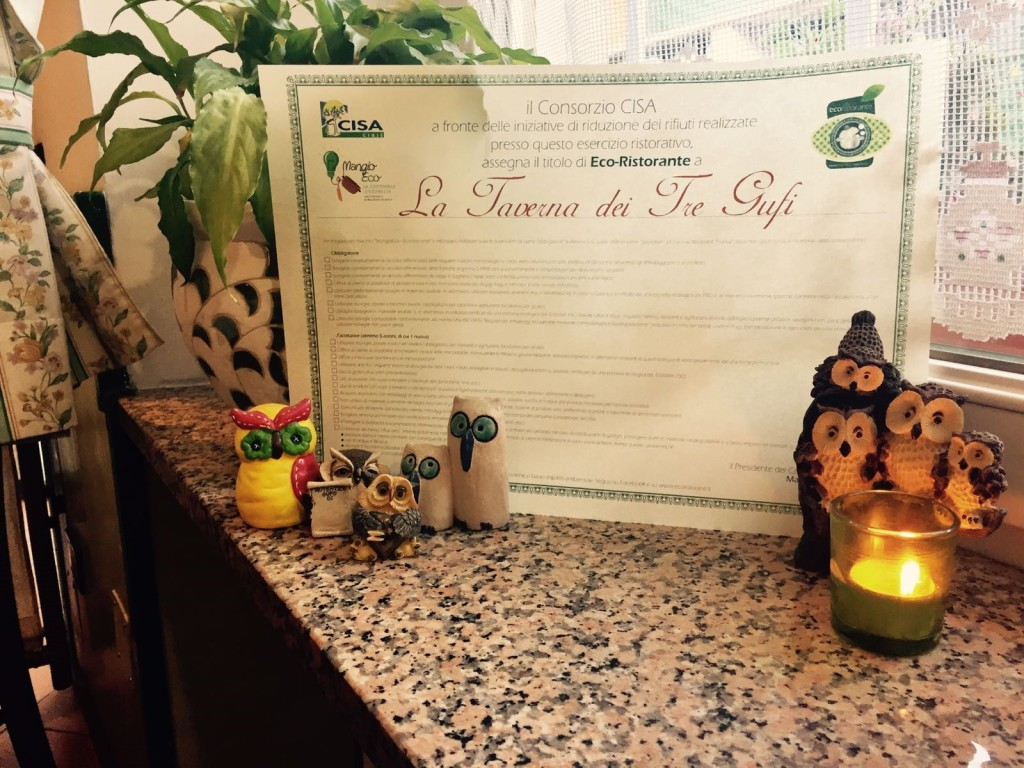 Uno degli attestati dell'Eco-ristorante (fonte: Coop. Erica)